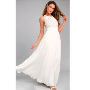 Lulu's Forever and Always White Lace Maxi Medium